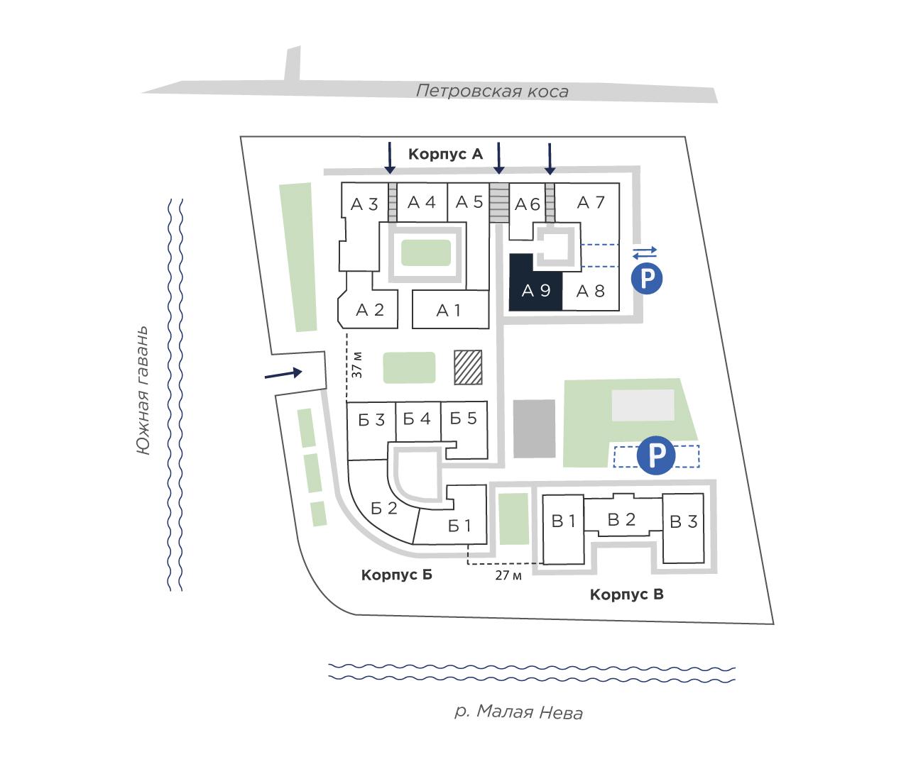 планировка трехкомнатной квартиры в ЖК «Петровская Доминанта» №238