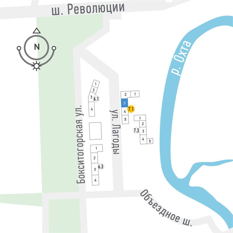планировка трехкомнатной квартиры в ЖК «Охта Хаус» №199