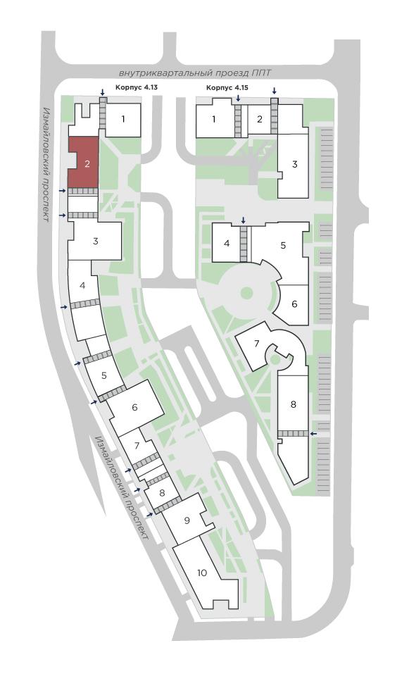 планировка двухкомнатной квартиры в ЖК Галактика Pro №53