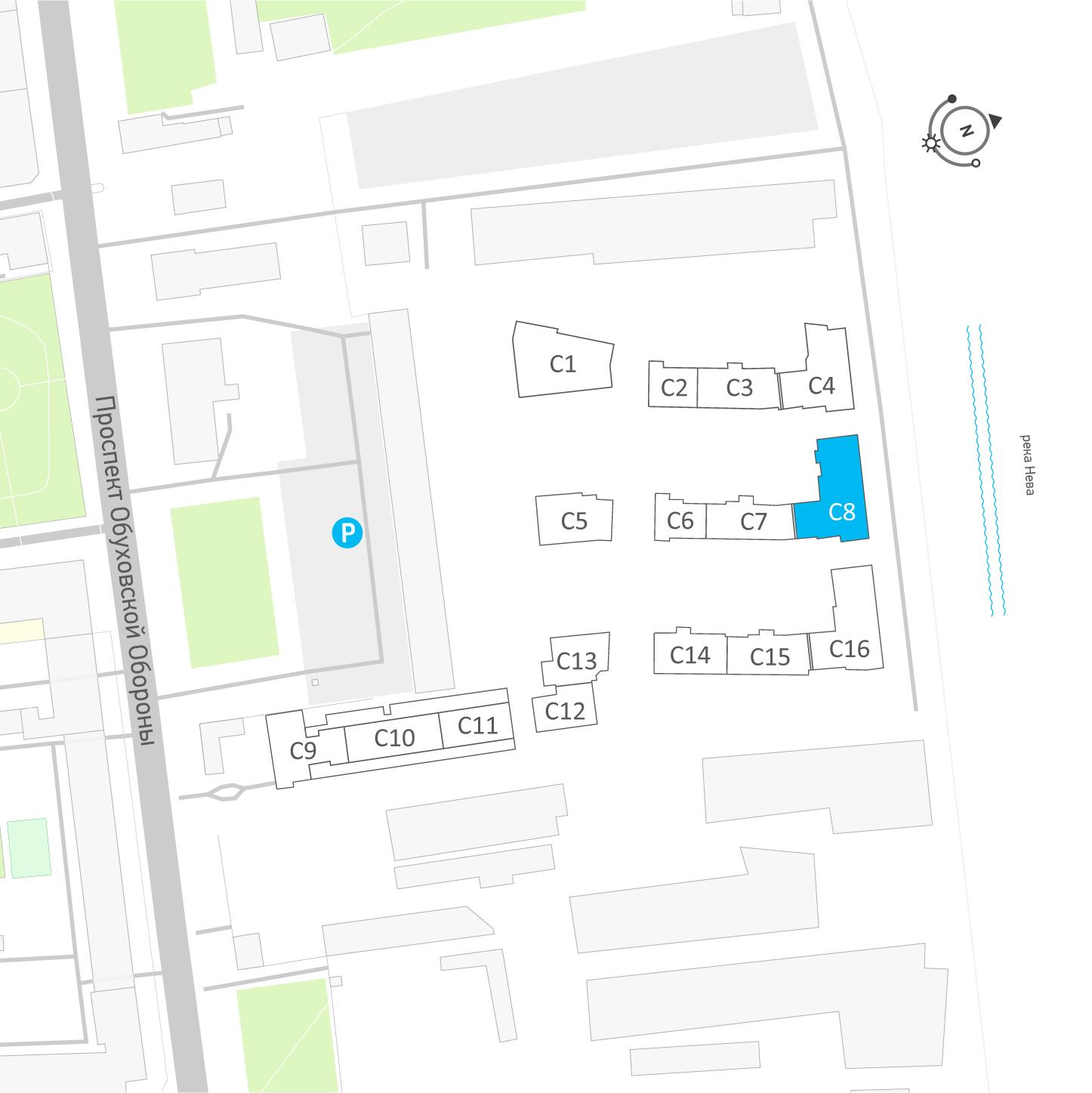 планировка двухкомнатной квартиры в ЖК «Эталон на Неве» №594