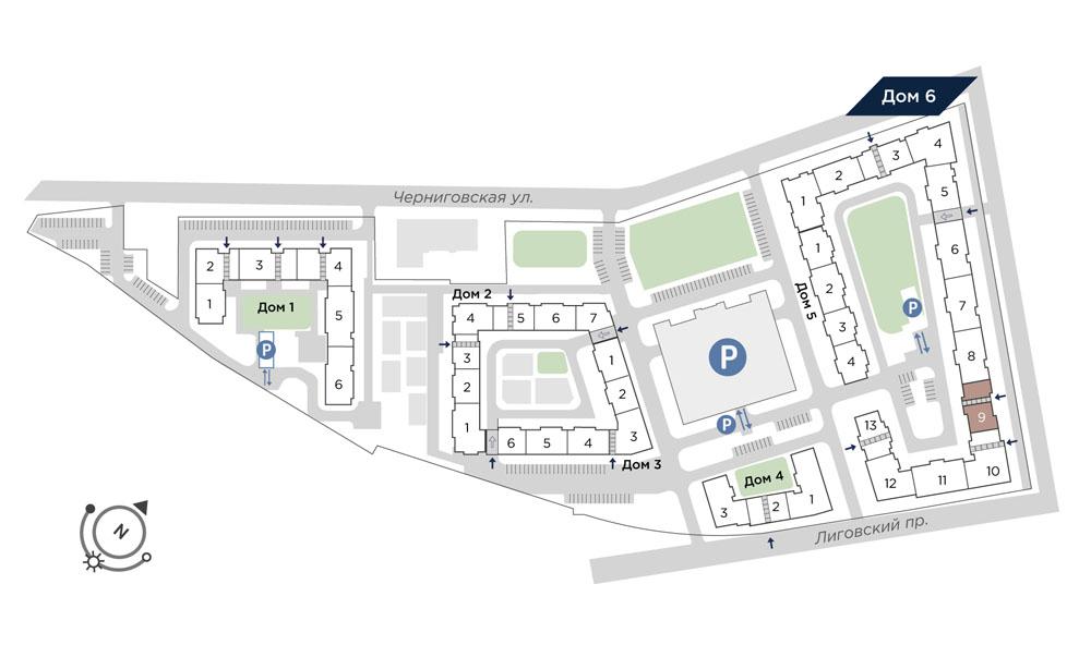 планировка однокомнатной квартиры в Квартал Che №540