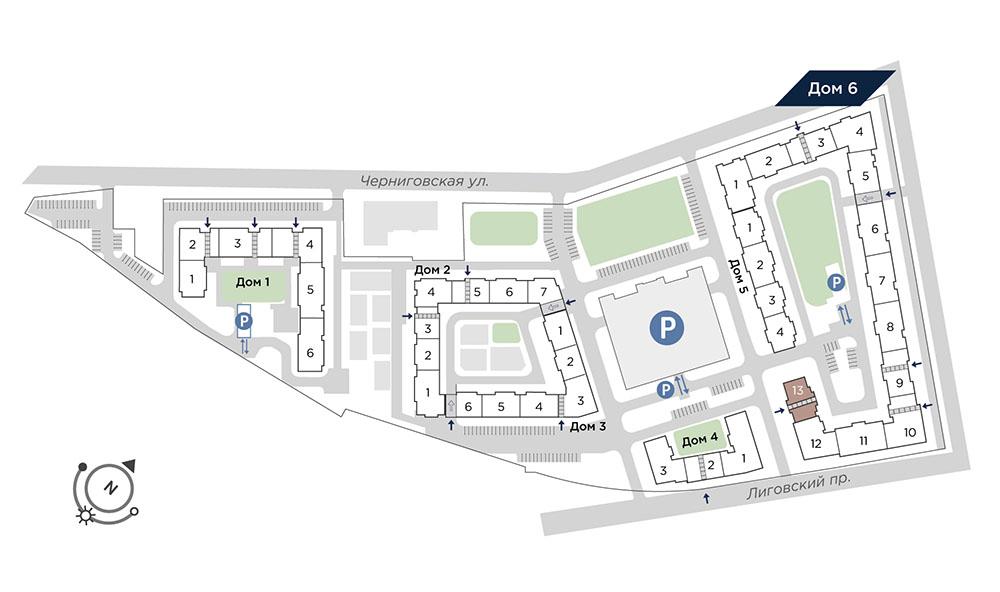 планировка трехкомнатной квартиры в Квартал Che №736