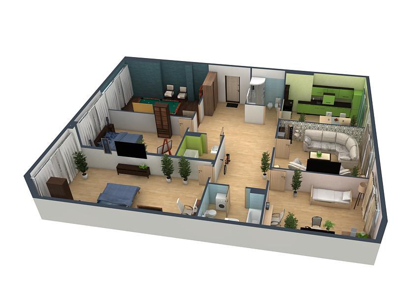 планировка пятикомнатной квартиры в ЖК Fusion №55
