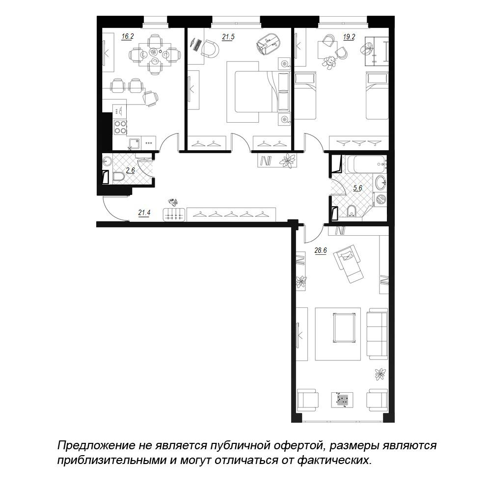планировка трехкомнатной квартиры в  №23