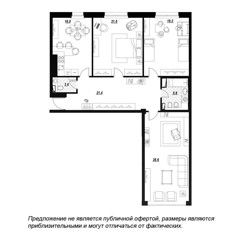 планировка трехкомнатной квартиры в  №39