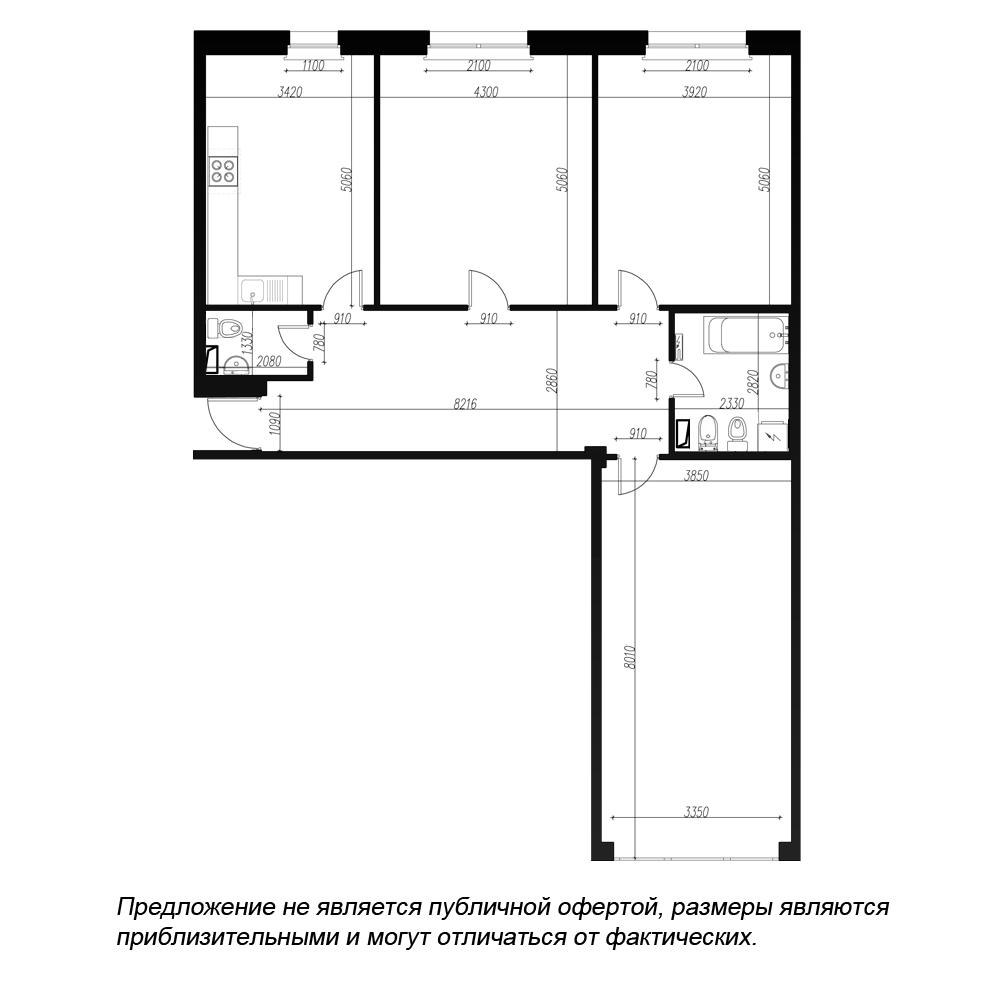 планировка трехкомнатной квартиры в ЖК Fusion №7