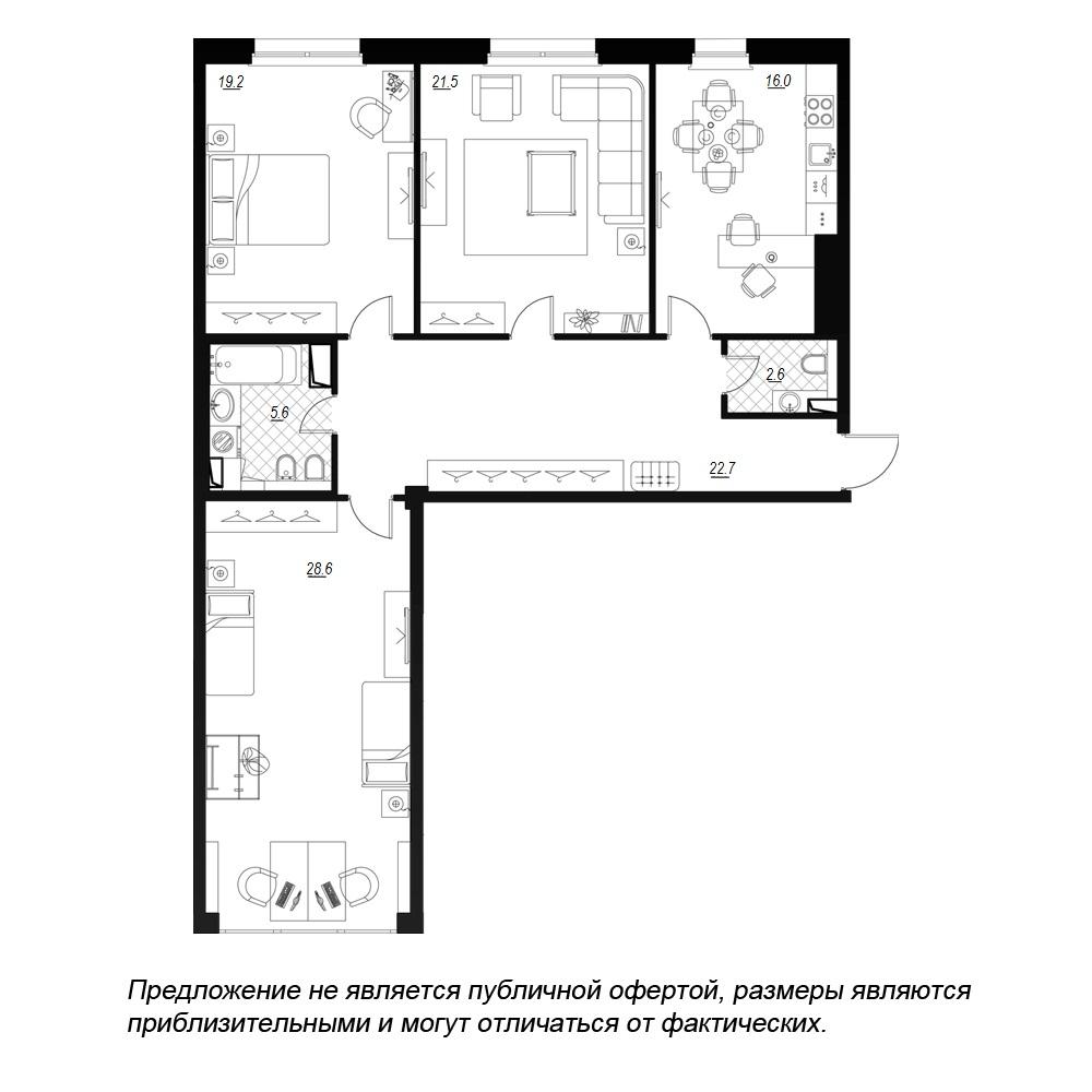 планировка трехкомнатной квартиры в  №89
