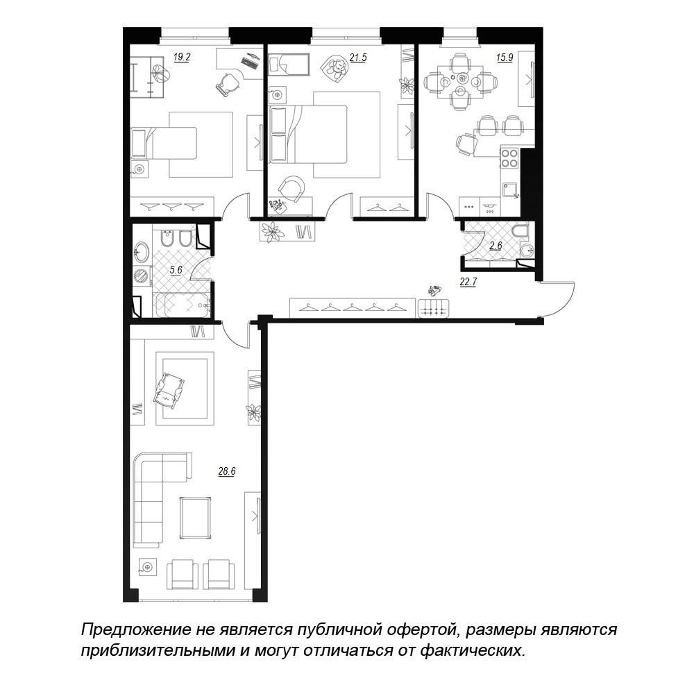 планировка трехкомнатной квартиры в  №97
