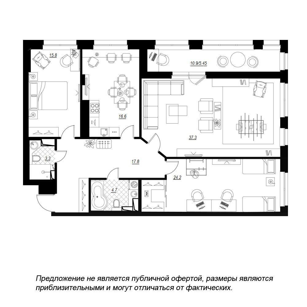 планировка трехкомнатной квартиры в  №98