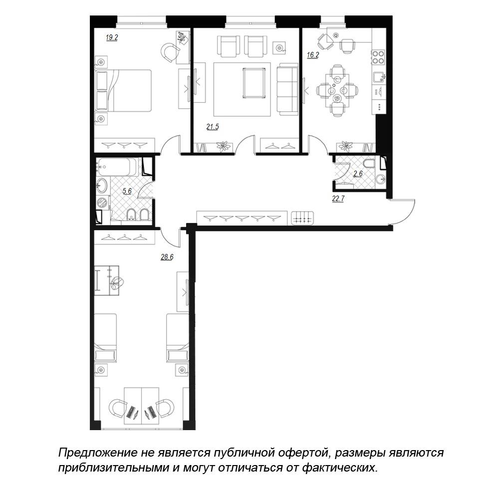 планировка трехкомнатной квартиры в  №73