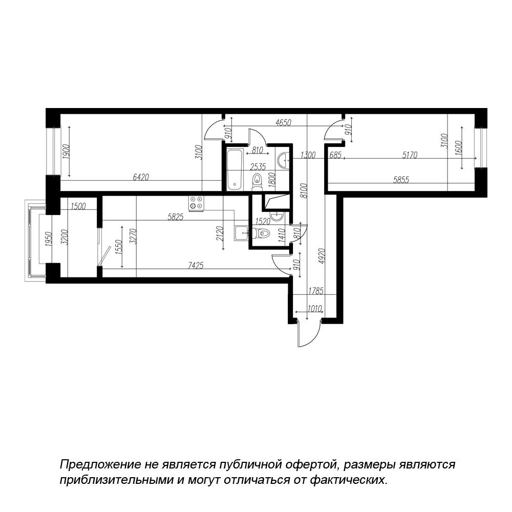 планировка двухкомнатной квартиры в ЖК BOTANICA №20