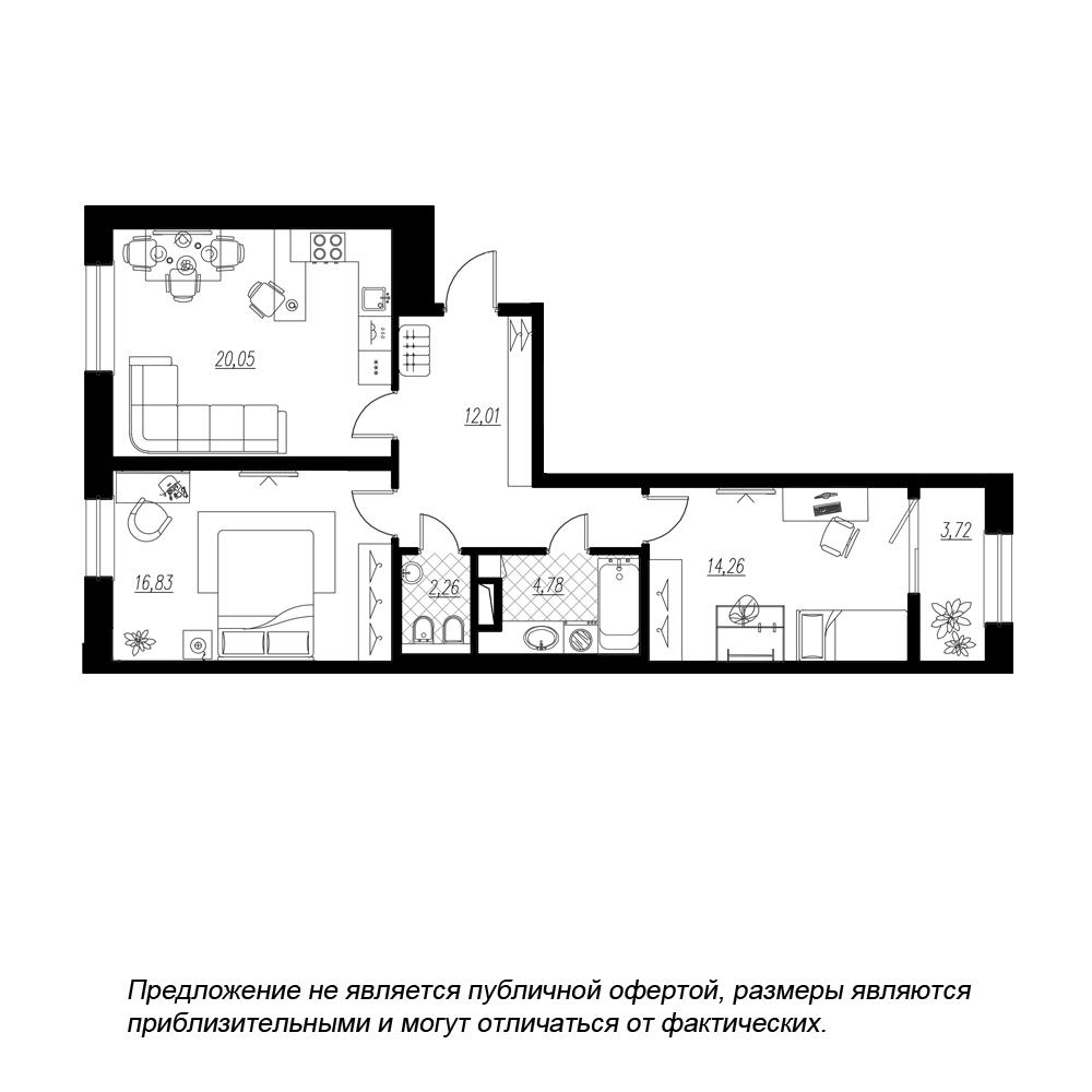 планировка двухкомнатной квартиры в  №54