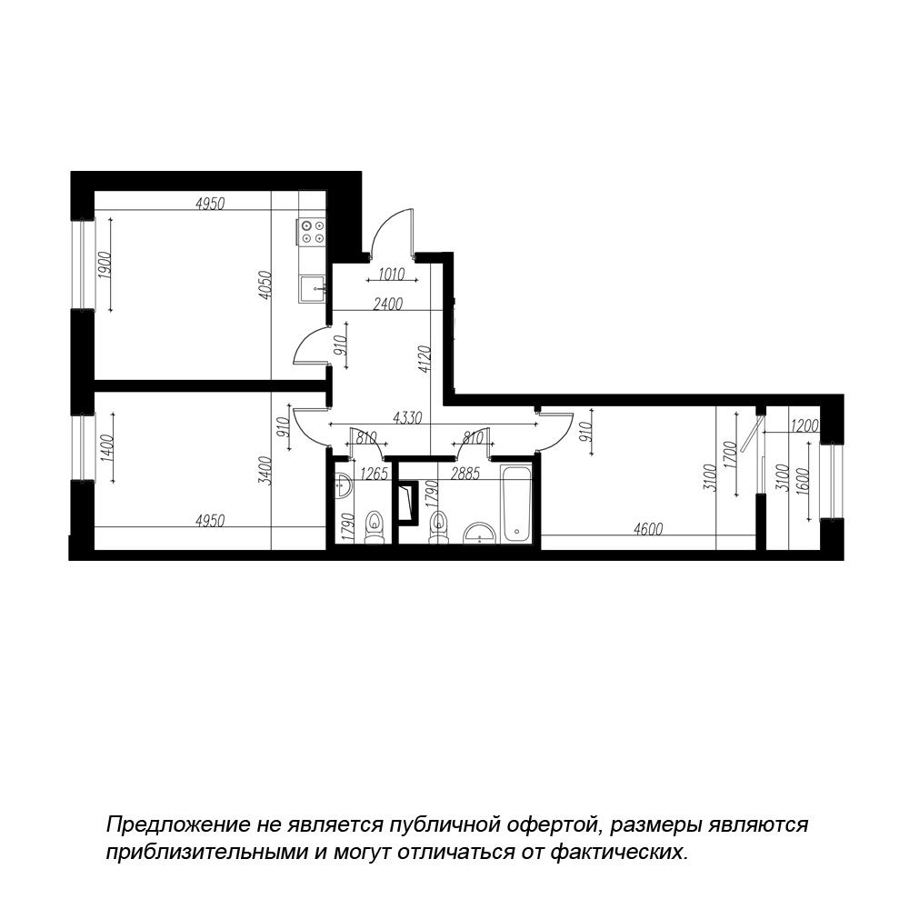 планировка двухкомнатной квартиры в ЖК BOTANICA №54