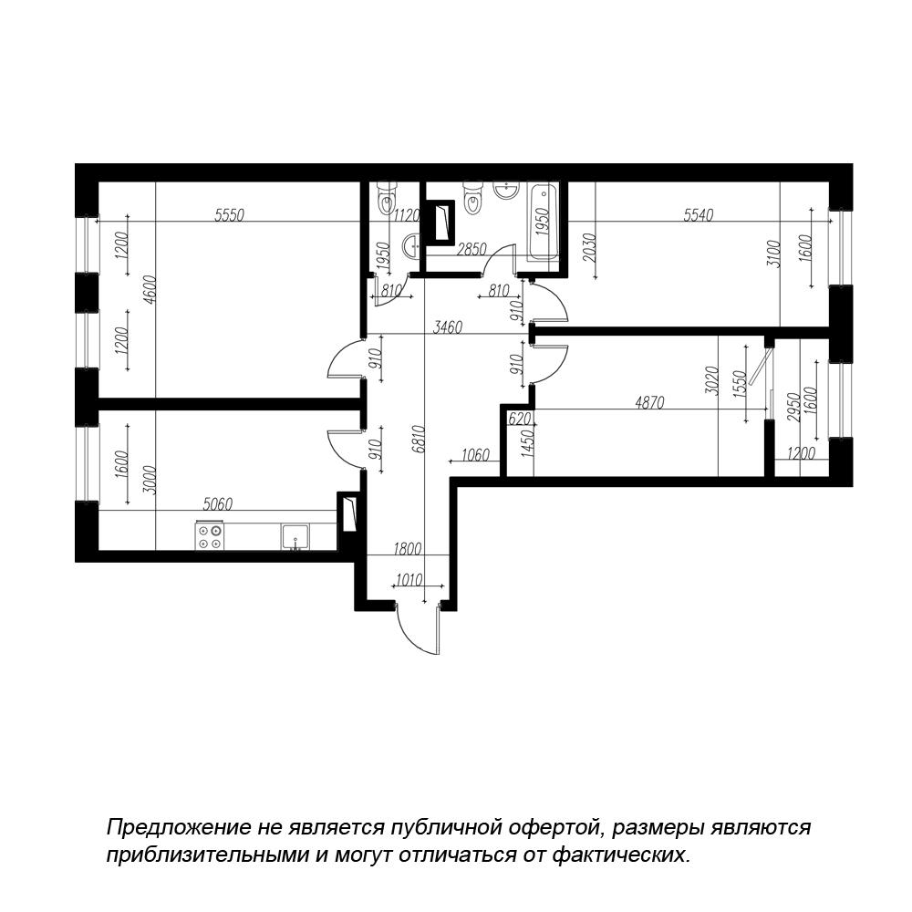 планировка трехкомнатной квартиры в ЖК BOTANICA №31