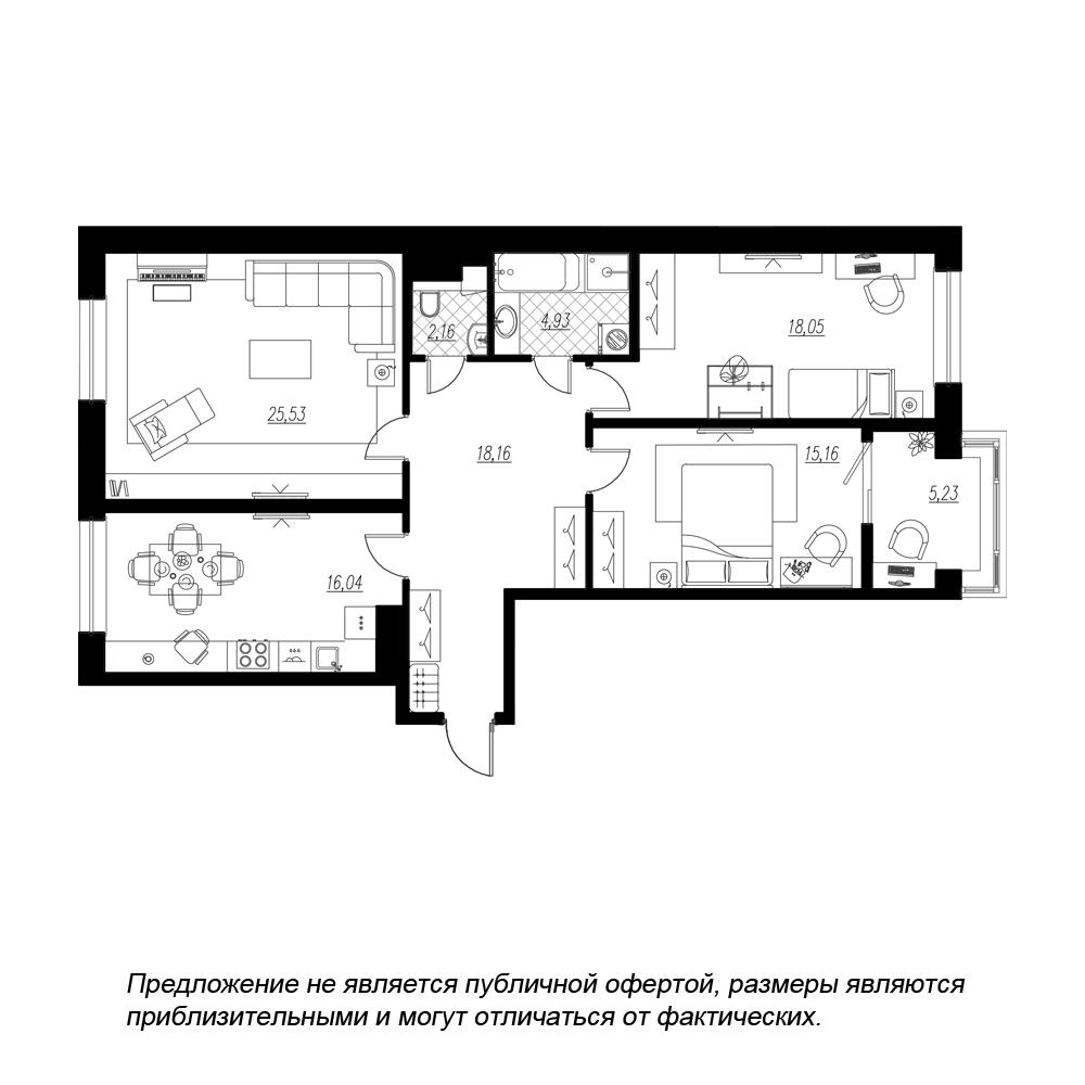 планировка трехкомнатной квартиры в  №125