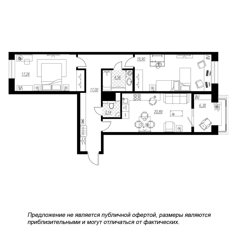 планировка двухкомнатной квартиры в  №157