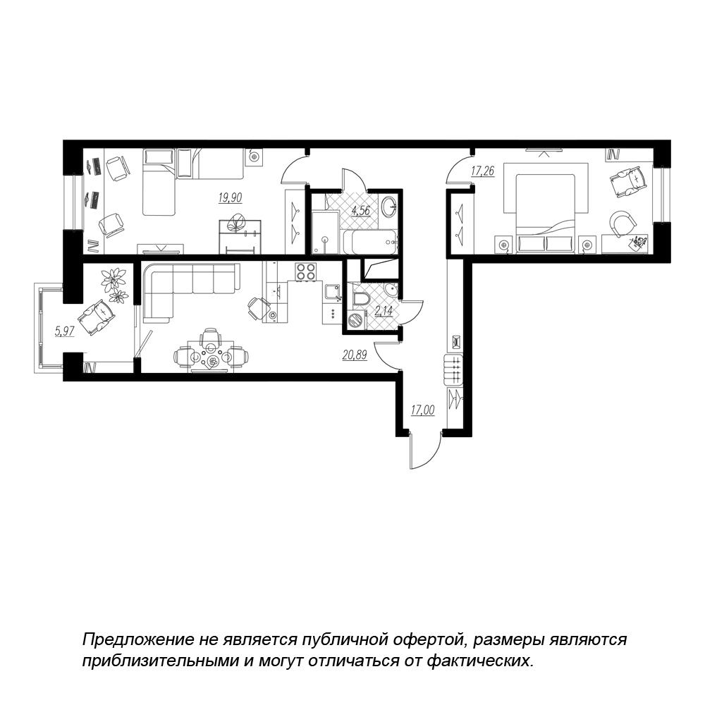 планировка двухкомнатной квартиры в  №186