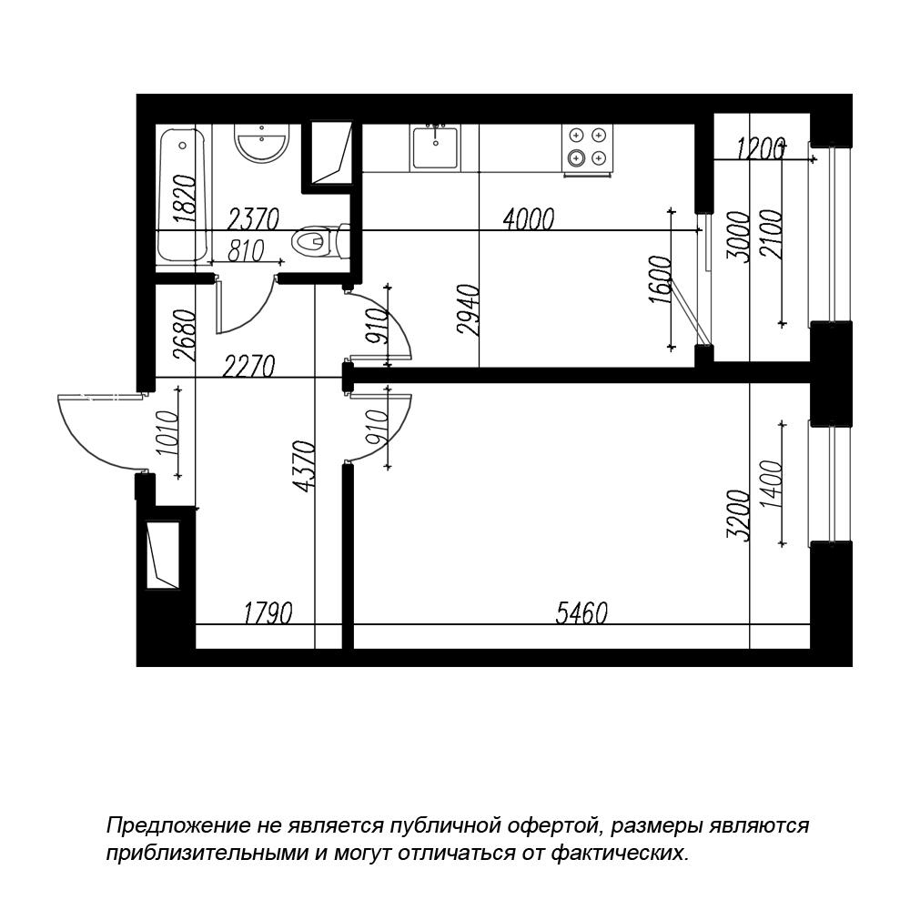 планировка однокомнатной квартиры в ЖК BOTANICA №230
