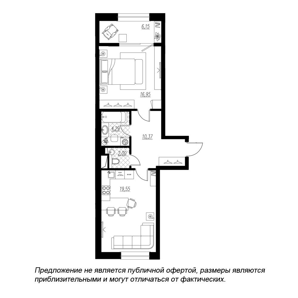планировка однокомнатной квартиры в ЖК BOTANICA №296