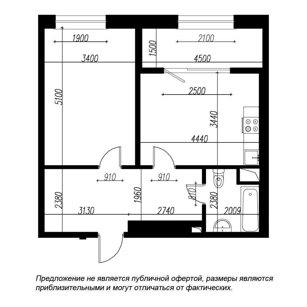 планировка однокомнатной квартиры в ЖК BOTANICA №282