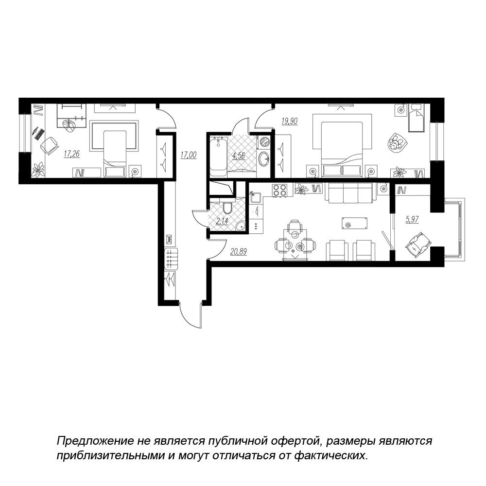 планировка двухкомнатной квартиры в  №351
