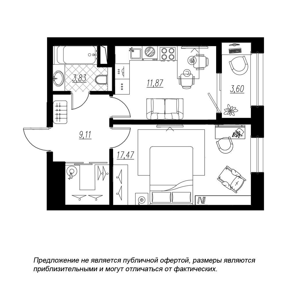 планировка однокомнатной квартиры в  №230