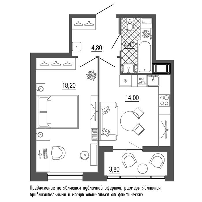 планировка однокомнатной квартиры в  №441