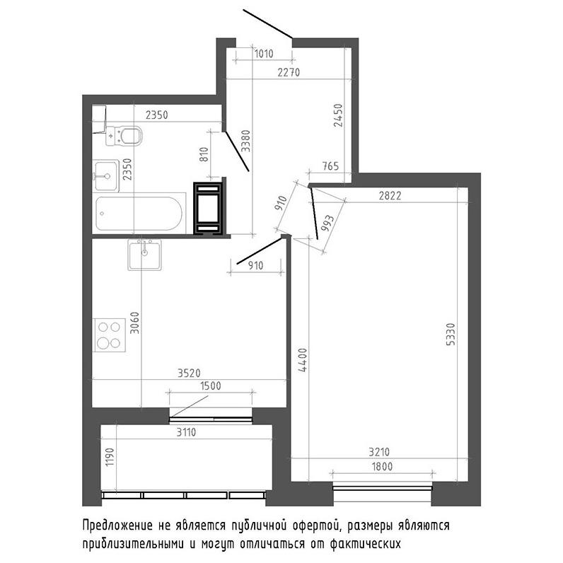 планировка однокомнатной квартиры в ЖК «Галактика. Премиум» №192