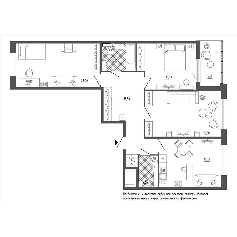 планировка трехкомнатной квартиры в  №4