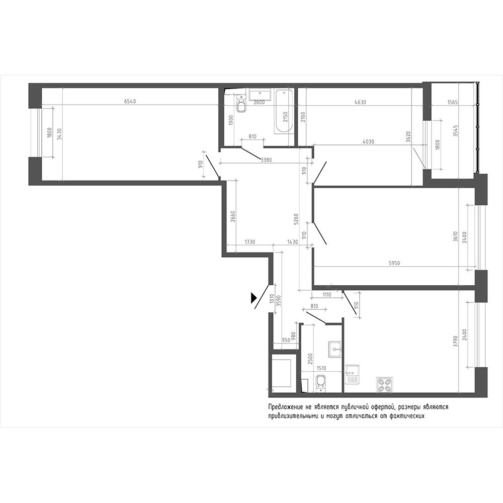 планировка трехкомнатной квартиры в ЖК «Галактика. Премиум» №4