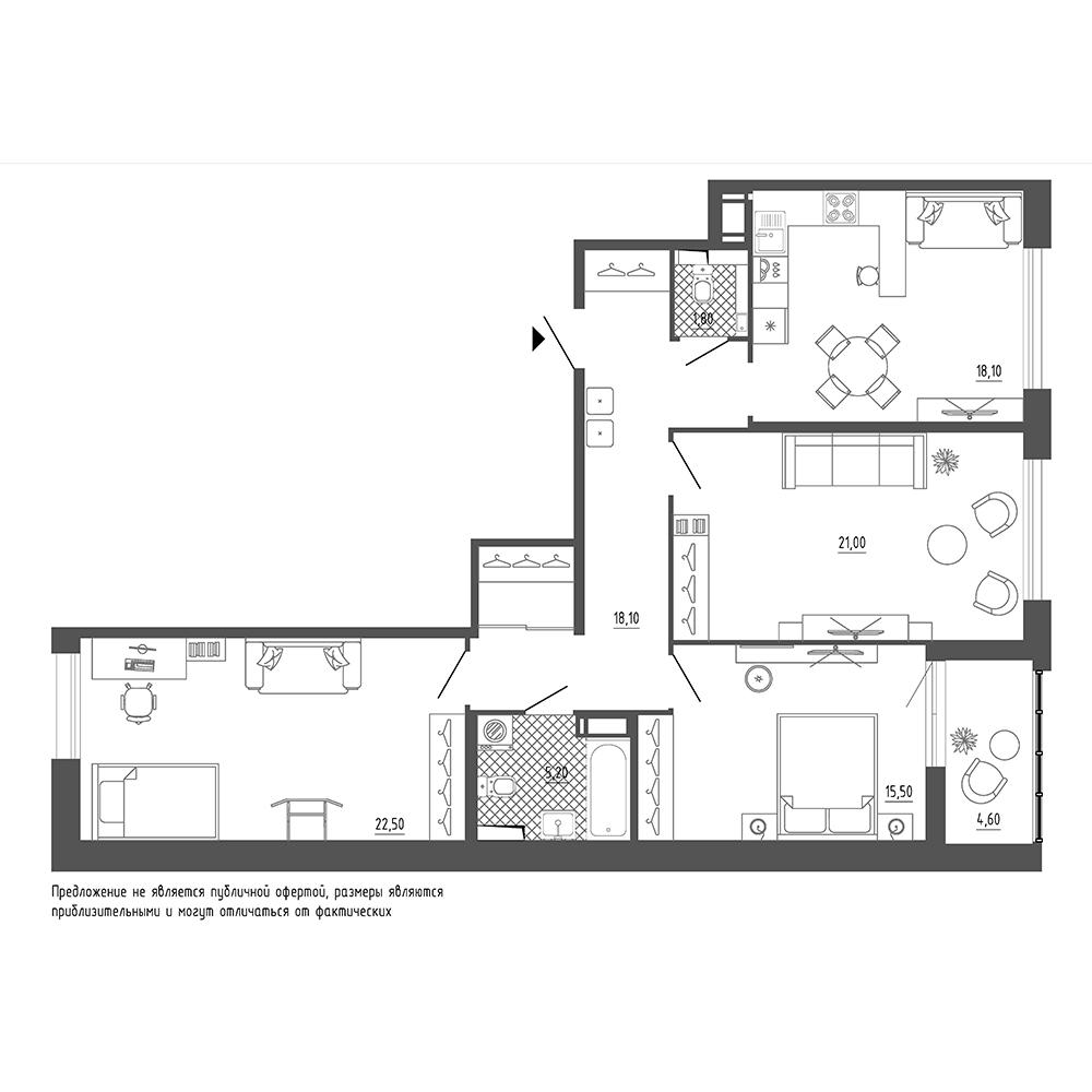 планировка трехкомнатной квартиры в  №29