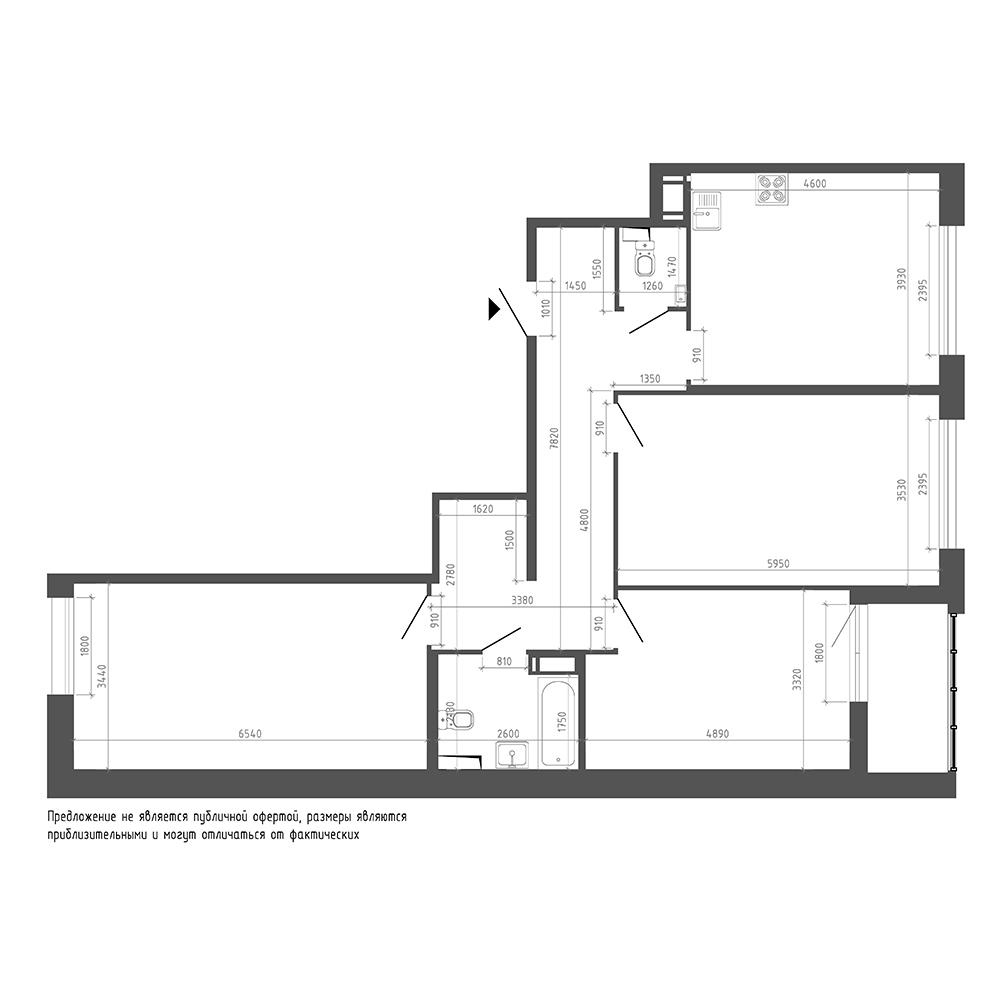 планировка трехкомнатной квартиры в ЖК «Галактика. Премиум» №29
