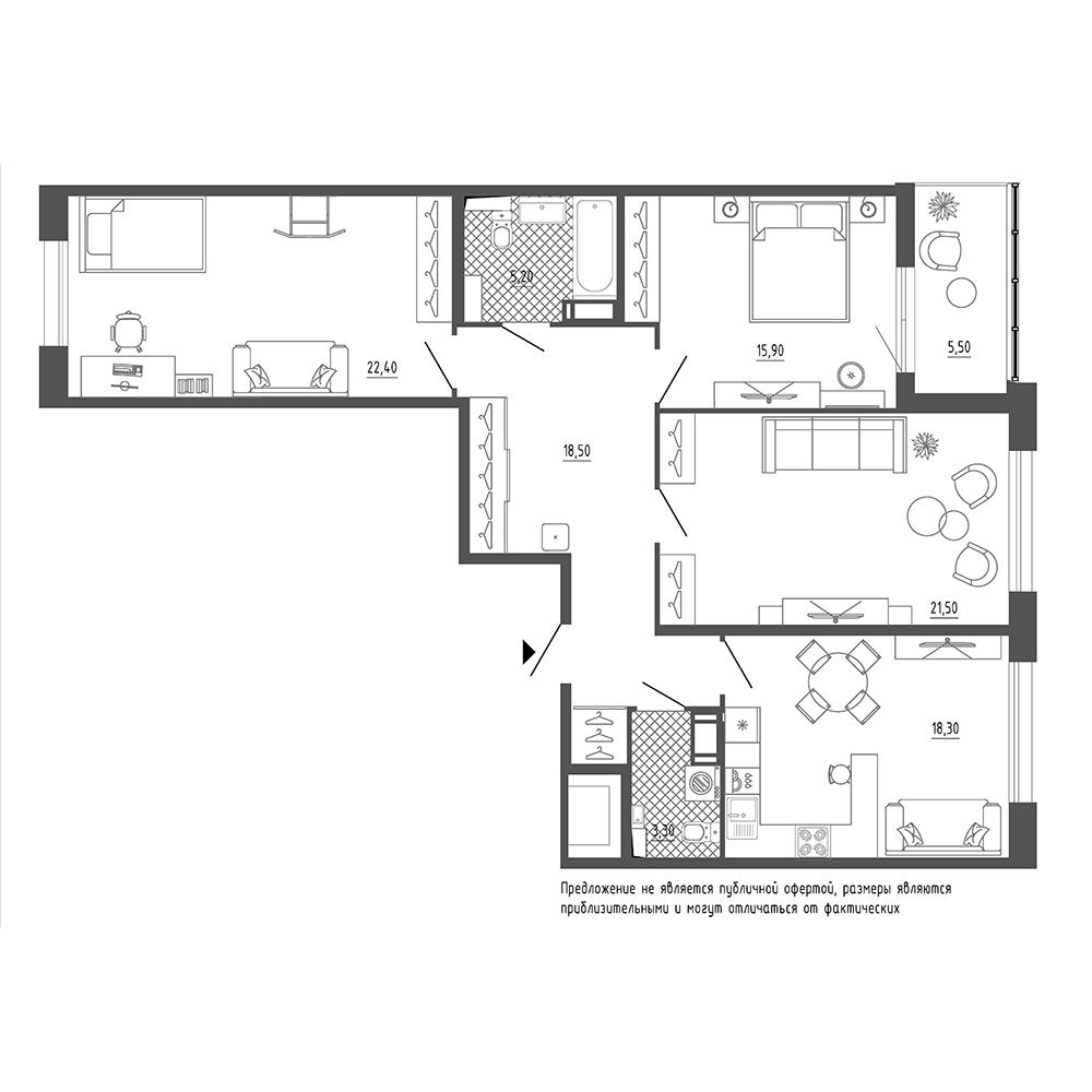 планировка трехкомнатной квартиры в  №68