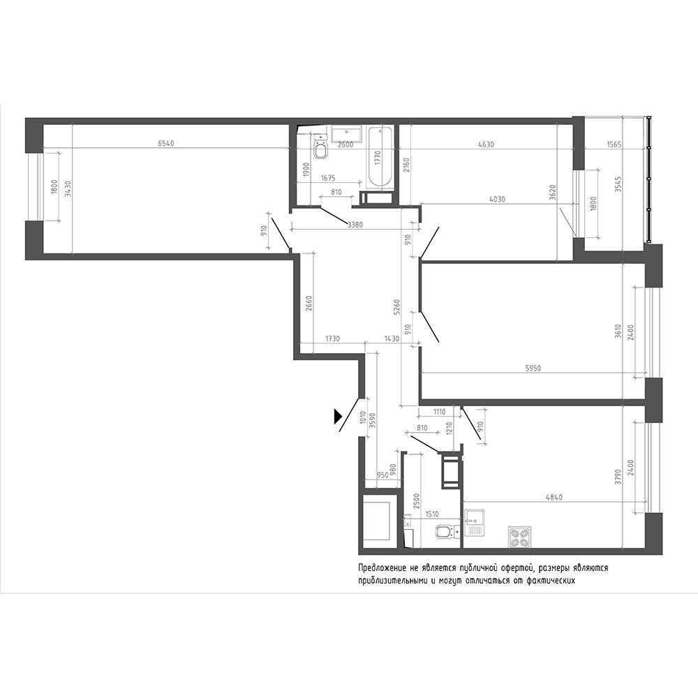 планировка трехкомнатной квартиры в ЖК «Галактика. Премиум» №68