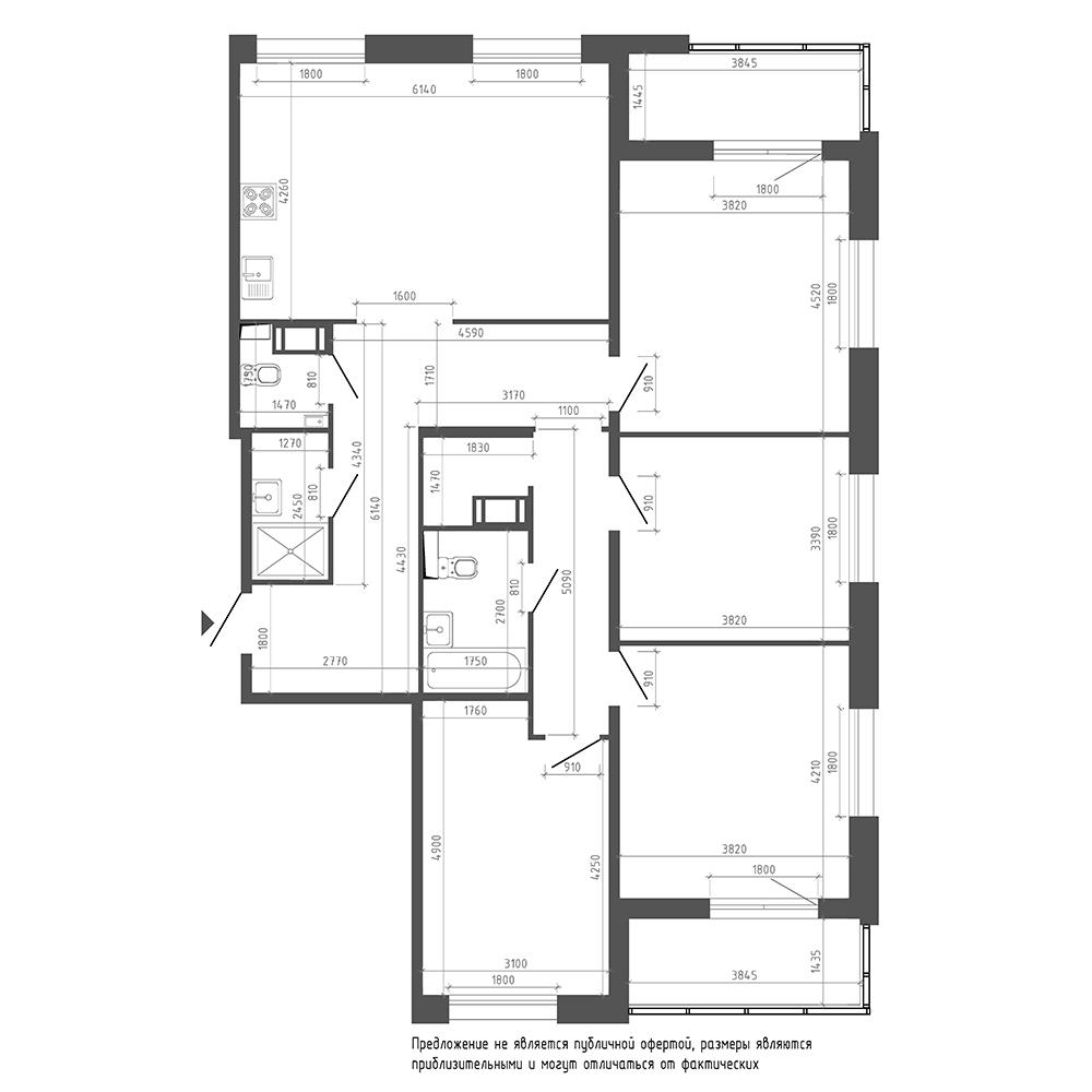 планировка четырехкомнатной квартиры в ЖК «Галактика. Премиум» №97