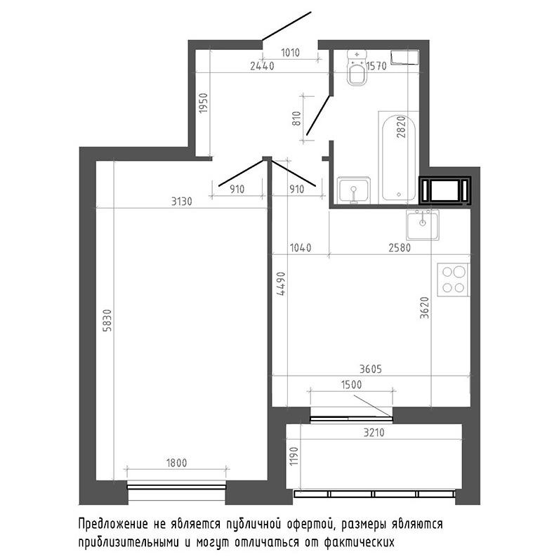 планировка однокомнатной квартиры в ЖК «Галактика. Премиум» №169