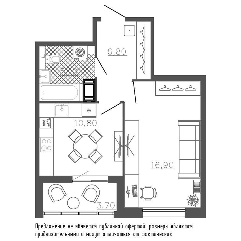 планировка однокомнатной квартиры в ЖК «Галактика. Премиум» №176