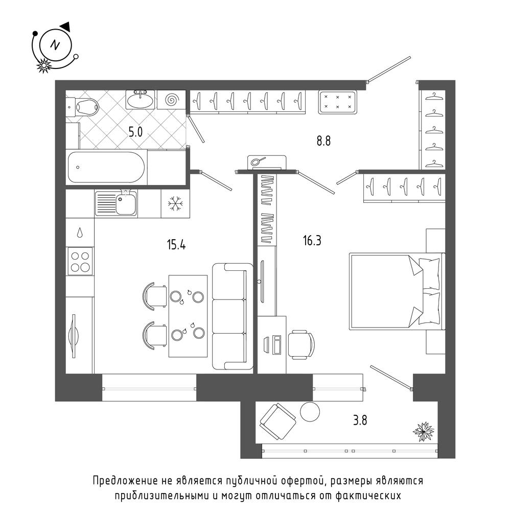 планировка однокомнатной квартиры в  №322