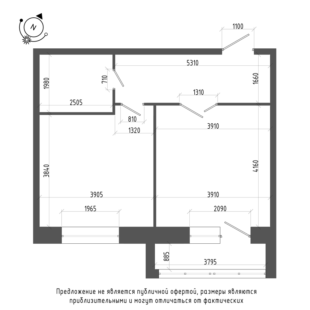 планировка однокомнатной квартиры в ЖК «Эталон на Неве» №322