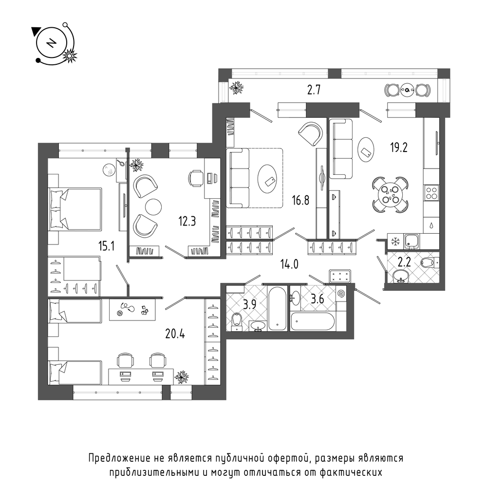 планировка четырехкомнатной квартиры в  №405