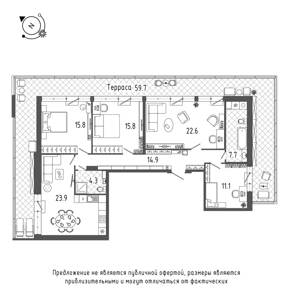 планировка четырехкомнатной квартиры в  №603