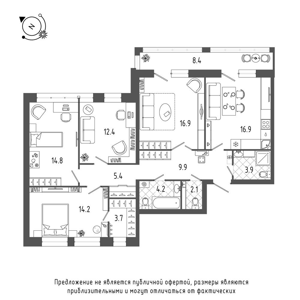 планировка четырехкомнатной квартиры в ЖК «Эталон на Неве» №618