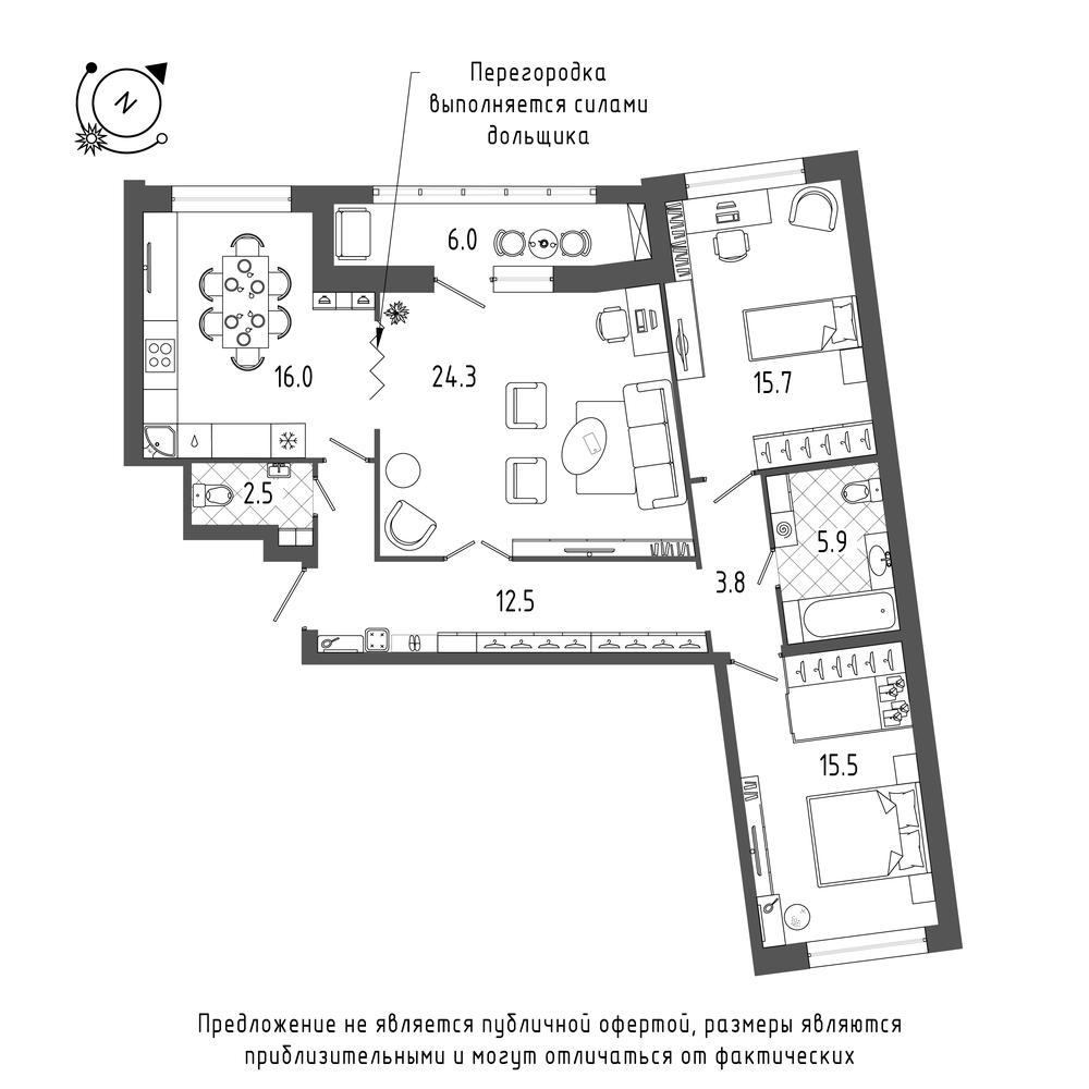 планировка трехкомнатной квартиры в  №515
