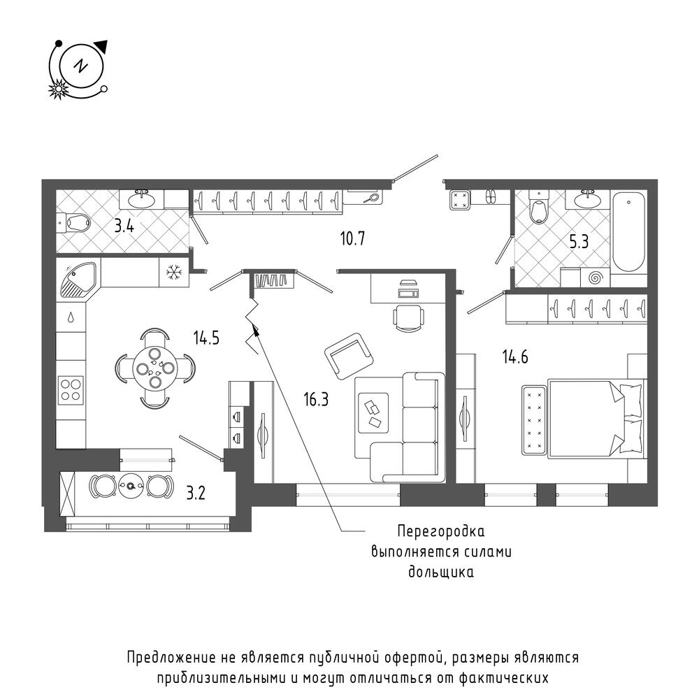 планировка двухкомнатной квартиры в  №541