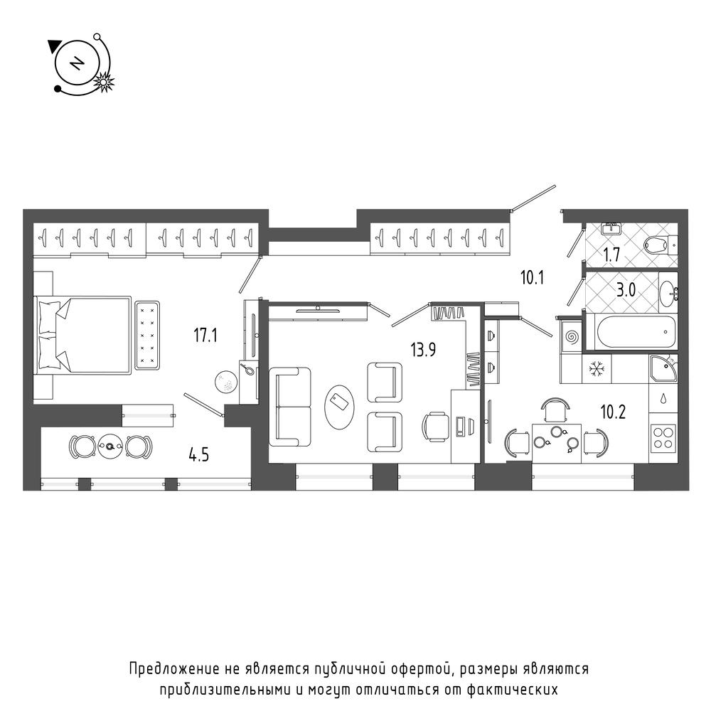 планировка двухкомнатной квартиры в  №594