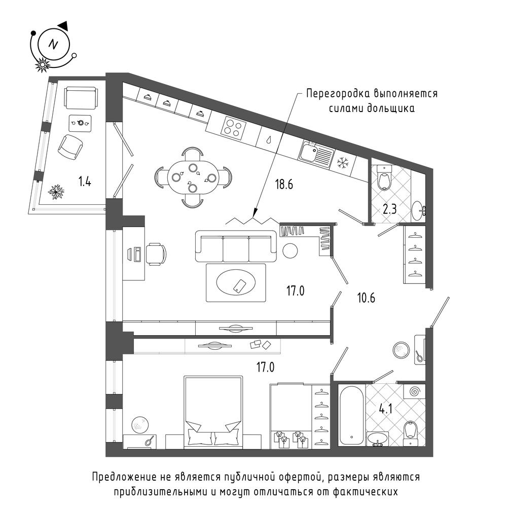 планировка двухкомнатной квартиры в  №660