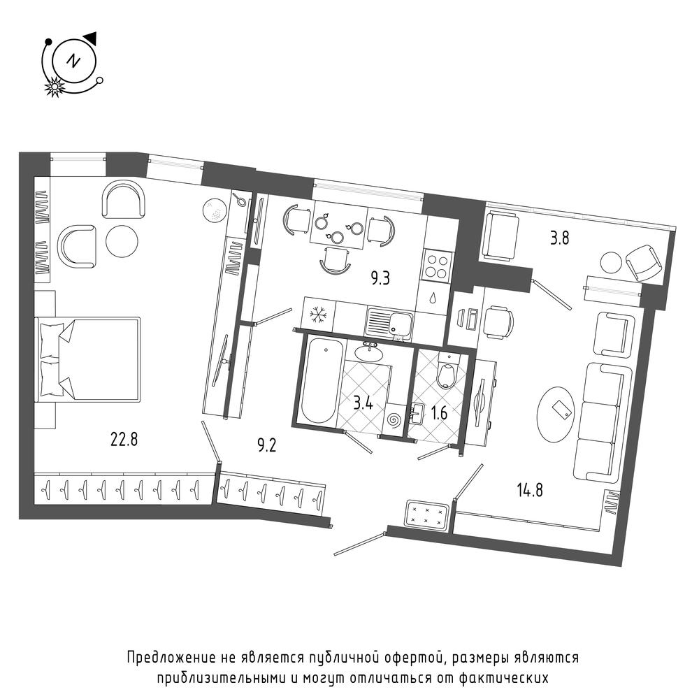 планировка двухкомнатной квартиры в  №276