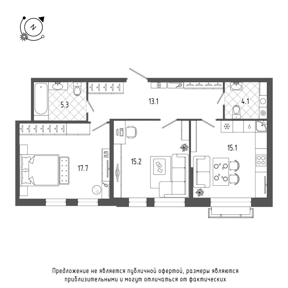планировка двухкомнатной квартиры в  №480