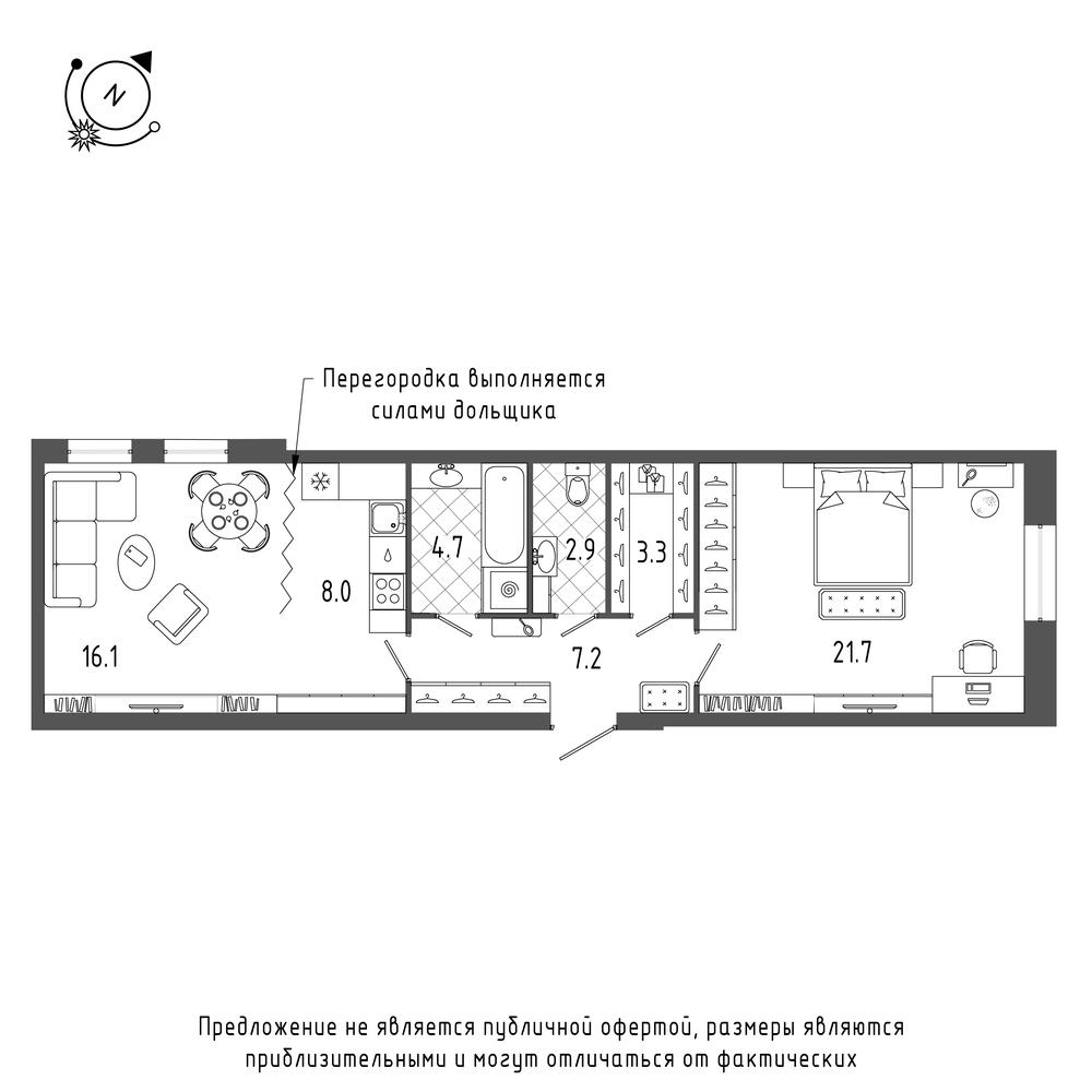 планировка двухкомнатной квартиры в  №206