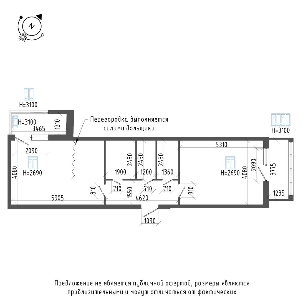 планировка двухкомнатной квартиры в ЖК «Эталон на Неве» №209